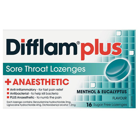 Difflam Plus Anaesthetic Eucalyptus & Menthol Lozenges 16