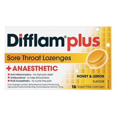 Difflam Plus Anaesthetic Honey & Lemon Lozenges 16