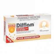 Difflam Plus Anaesthetic Lozenges - Honey & Lemon 16s
