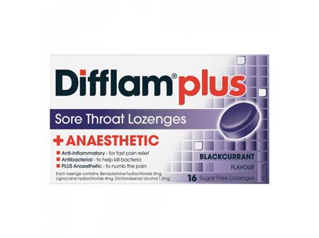 Difflam Plus Anaesthetic Sore Throat Blackcurrant Lozenges  16