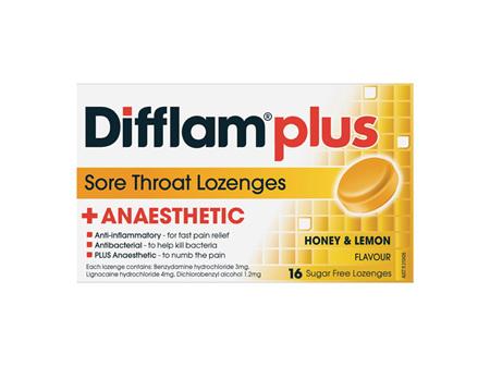 Difflam Plus Anaesthetic Sore Throat Honey & Lemon Lozenges 16