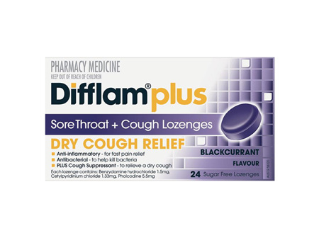 Difflam Plus Dry Cough Relief Sore Throat Lozenges
