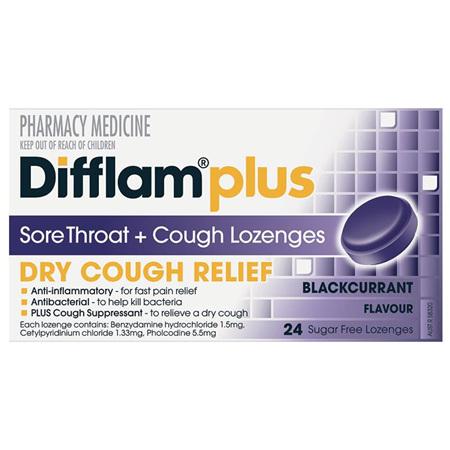 Difflam Plus Sore Throat + Cough Lozenges, Blackcurrant 24 Pack