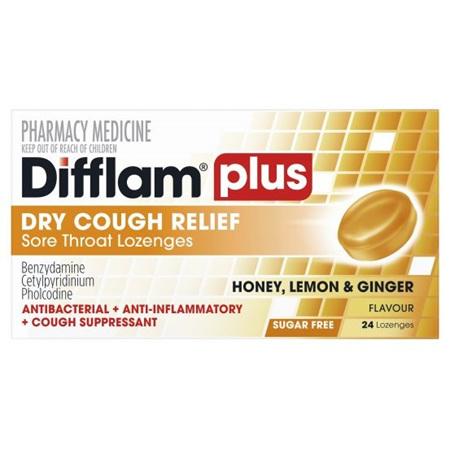Difflam Plus Sore Throat + Cough Lozenges, Honey Lemon & Ginger 24 Pack
