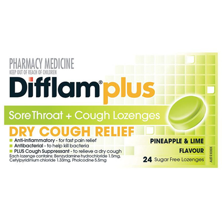 Difflam Plus Sore Throat + Cough Lozenges, Pineapple & Lime 24 Pack