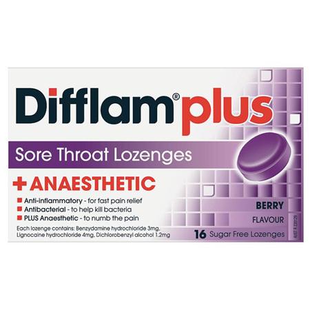 Difflam Plus Sore Throat Lozenges, Berry 16 Pack