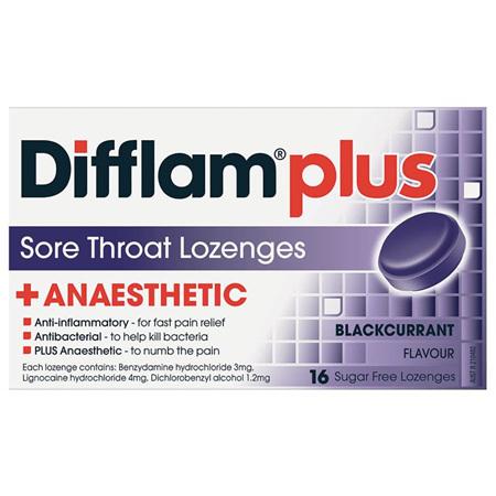 Difflam Plus Sore Throat Lozenges, Blackcurrant 16 Pack