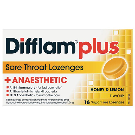 Difflam Plus Sore Throat Lozenges, Honey and Lemon 16 Pack