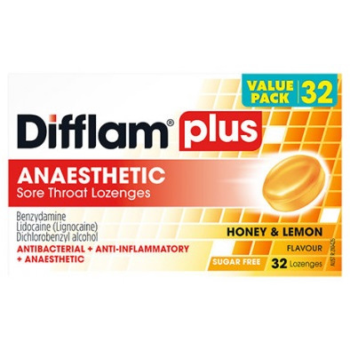 Difflam Plus Sore Throat Lozenges, Honey and Lemon 32 Pack