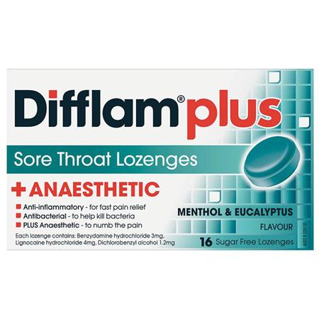 Difflam Plus Sore Throat Lozenges, Menthol and Eucalyptus 16 Pack