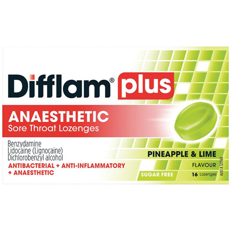 Difflam Plus Sore Throat Lozenges, Pineapple & Lime 16 Pack