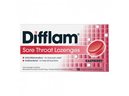 Difflam Sore Throat Raspberry Lozenges 16