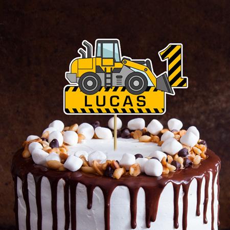 Digger Cake Topper Personalised