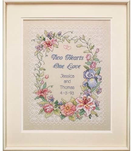 Dimensions Cross Stitch Kit - Two Hearts Wedding Record