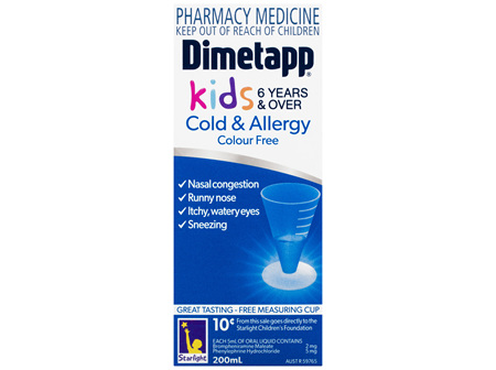 Dimetapp Cold & Allergy Kids 6 Years & Over Colour Free 200mL