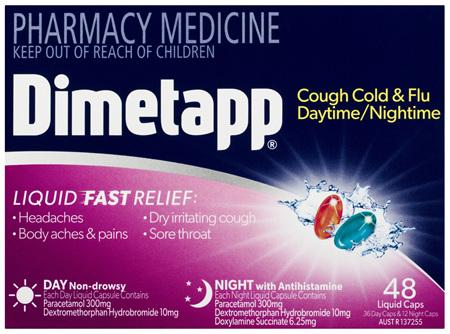Dimetapp Cough Cold & Flu Daytime/Nightime Liquid Caps 48 Pack