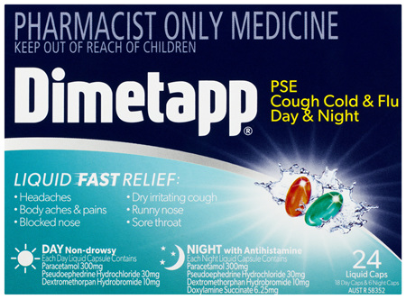 Dimetapp PSE Cough Cold & Flu Day & Night Liquid Caps 24 Pack