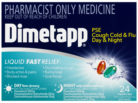Dimetapp PSE Cough Cold & Flu Day & Night Liquid Caps 24 Pack