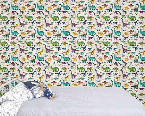 Dinosaur wallpaper bright with bed and velveteen rabbit