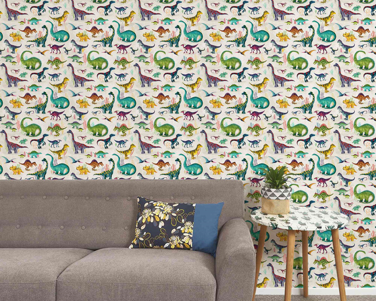 Dinosaur wallpaper bright with couch, table and plant