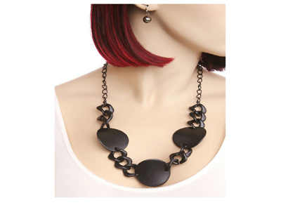 Disc Necklace and Earrings Set - Gold, Black or Silver