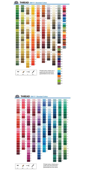 DMC Stranded Cottons Chart of Colours Available