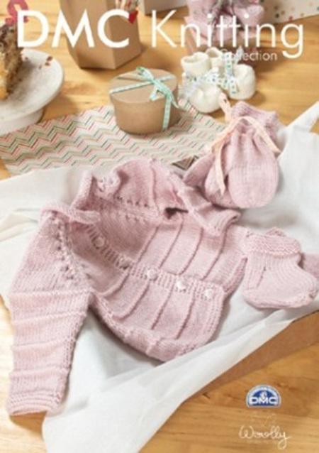 DMF15196L2  DMC Woolly Merino Knitting Pattern - Pink Baby Set