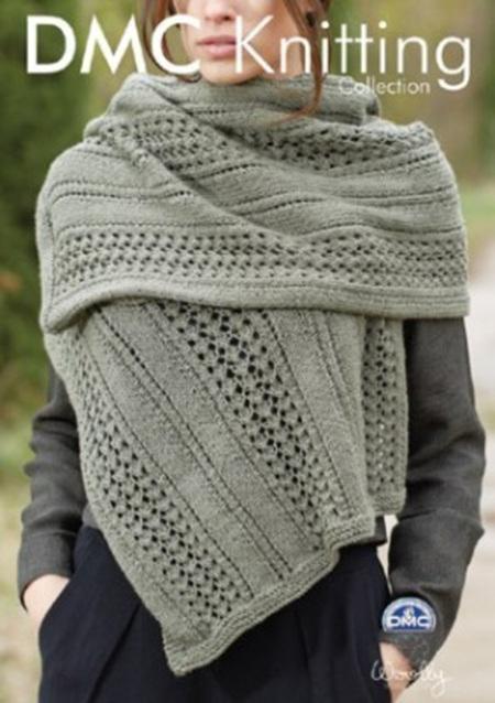 DMF15204L2  DMC Woolly Merino Knitting Pattern - Wrap