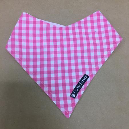 Dog Bandana - small to medium - Pink & White Check