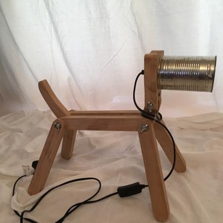 Dog Lamp Tin Head
