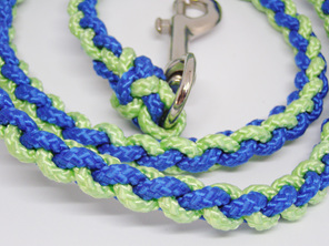Dog lead blue and and light green with spring clip
