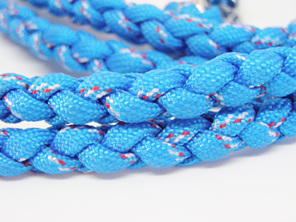 Dog lead blue with red and white fleck. Spring clasp