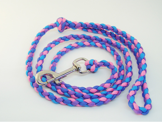 Dog lead, pink, purple, dark blue and light blue
