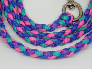 Dog lead, plaited, pink, blue, green, purple