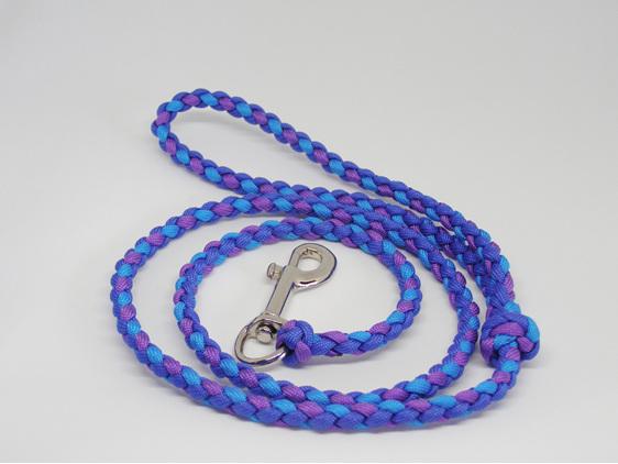 Dog lead with purple, light blue, dark blue