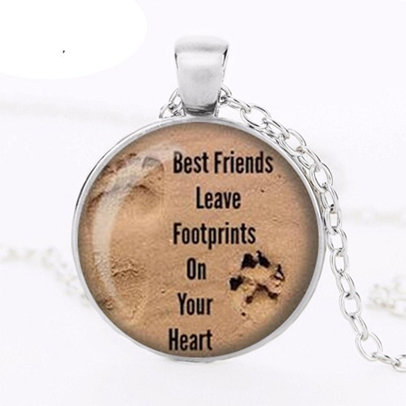 Dog Lovers Necklace - Best friends leave footprints on your heart.