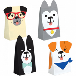 Dog party paper bags x 8