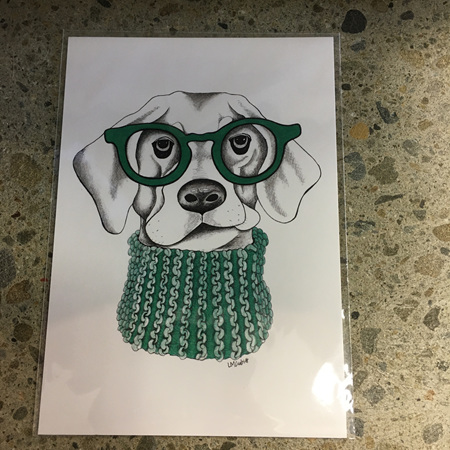 Dog with Glasses and Green Scarf - Prints