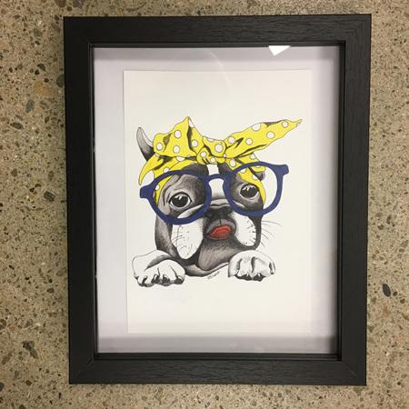 Dog with Glasses & Yellow Bandana - A5 Print Framed