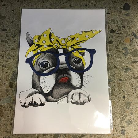 Dog with Glasses & Yellow Bandana Card
