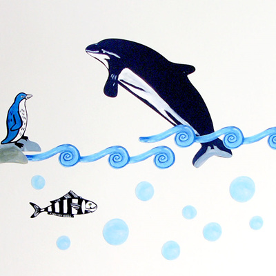Dolphin & Penguin wall decal