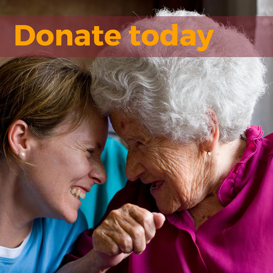 Donate today image of older woman and nurse