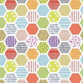 Doodle Blossoms Hexagon Fabric