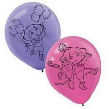 Dora Party Balloons - 6 pack pink and purple