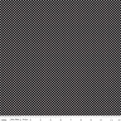 Dot & Dash - White Mini Cross on Black