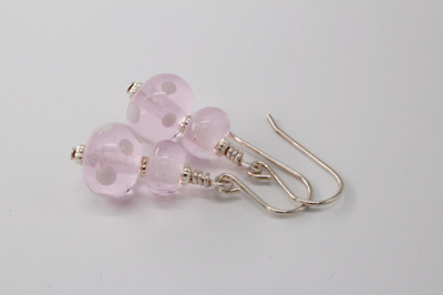 Dots earrings - Ivory on Pink