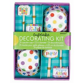 Dots & stripes cupcake kit x 24.
