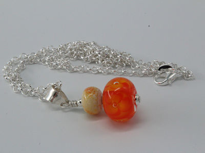 Double bubble flower pendant - orange