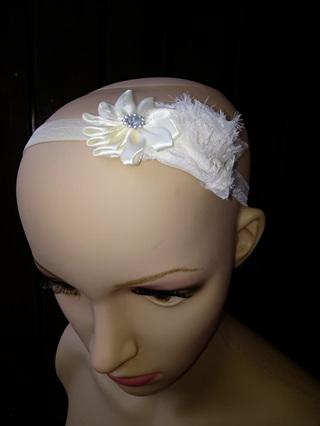 Double Flower Hairband - Beige