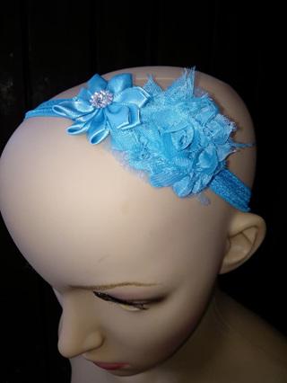 Double Flower Hairband - Blue